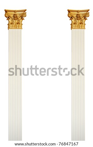 Single greek column isolated on white - stock photo
