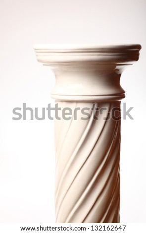 Single greek column on white background