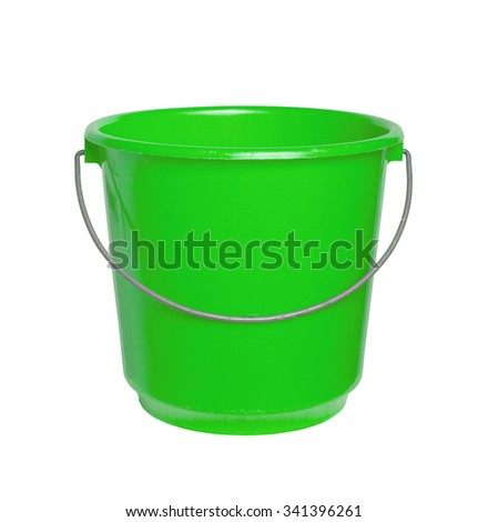 Single green bucket isolated on a white background