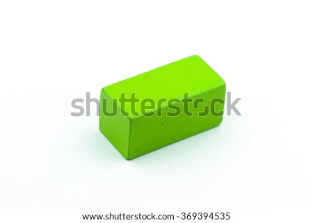 Single green cube isolated on white background
