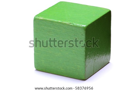 Single green cube isolated on white background. - stock photo
