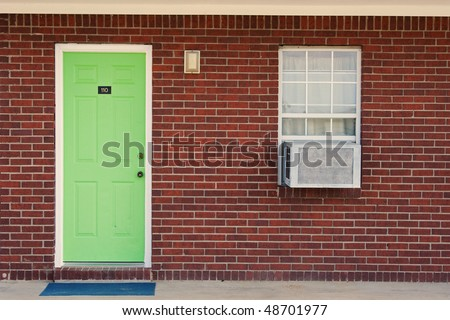 Single green door - stock photo