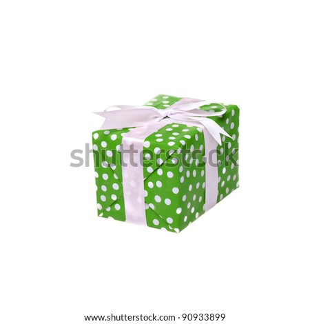 Single green gift box with ribbon on white background. - stock photo