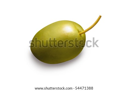 single green olive on white background - stock photo