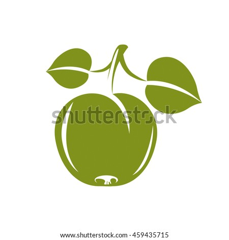 Single green simple apple with green leaves, ripe sweet fruit illustration. Healthy and organic food, harvest season symbol.  - stock photo
