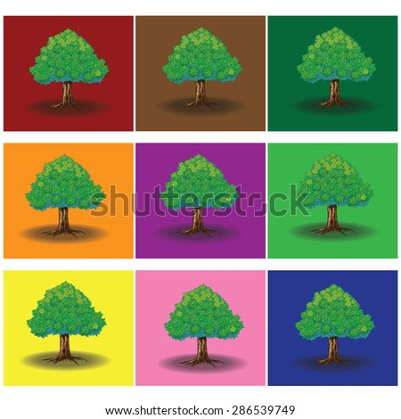 Single green tree on color background