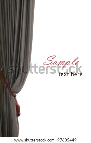 Single grey curtain with red buckle, white background, sample text, like an opera stage - stock photo