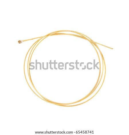 Single guitar string isolated on white background
