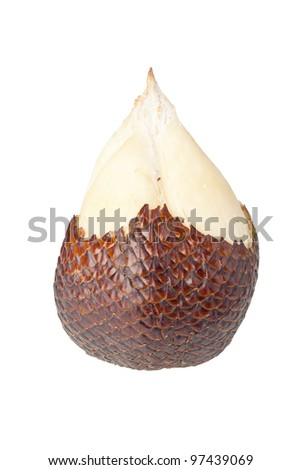 Single half peeled scaly snake fruit isolated on white background