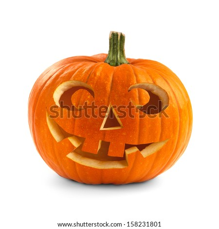Single Halloween pumpkin. Scary Jack O'Lantern face isolated on a white background. - stock photo