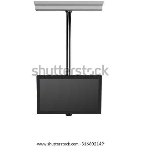 single hanging tv display from front view - stock photo