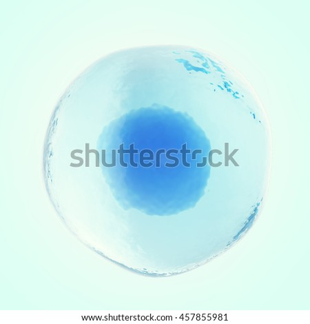 Single human or animal cell on blue background. 3d illustration - stock photo