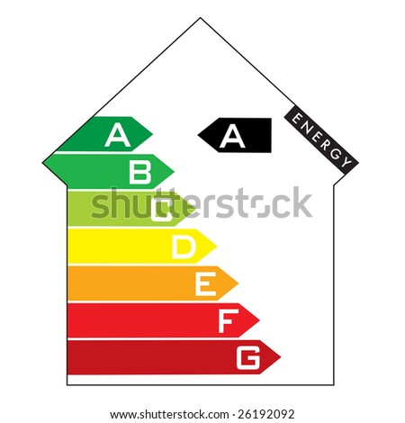 Single illustrated energy house rating with colourful arrows - stock photo