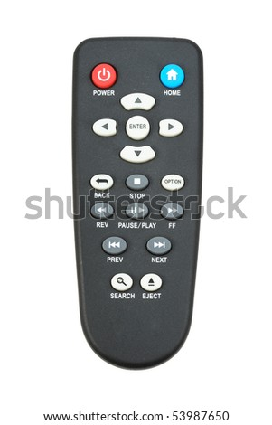 Single infrared remote control for media center. Isolated on white background. Close-up. Studio photography. - stock photo