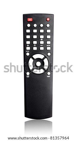 Single infrared universal remote control for media center. - stock photo
