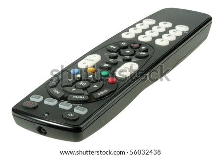 Single infrared universal remote control for media center. Isolated on white background. Close-up. Studio photography. - stock photo