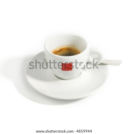 Single isolated espresso cup with dish and spoon