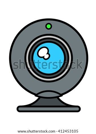 Single isolated web cam front view with blue lens and green status light on top over white background