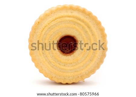 Single jam filled biscuit isolated on white - stock photo