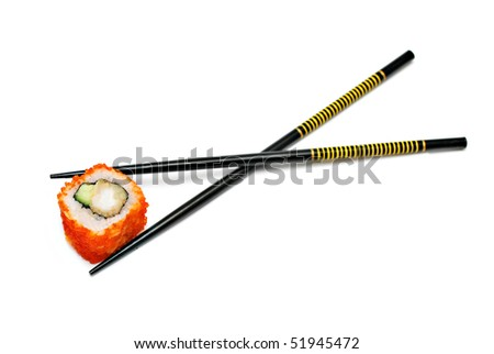 Single japan sushi roll in the chopsticks isolated
