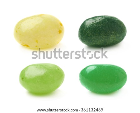 Single jelly bean candy isolated - stock photo