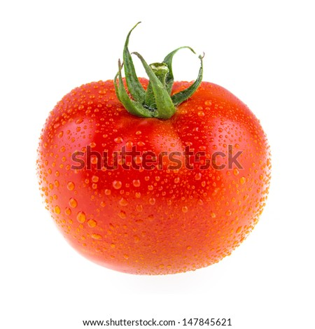 Single Juicy tomato with drops Isolated on white background - stock photo