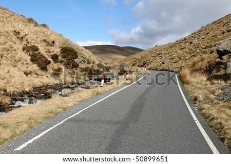 Single lane narrow country to Cymystwyth in Wales UK. - stock photo