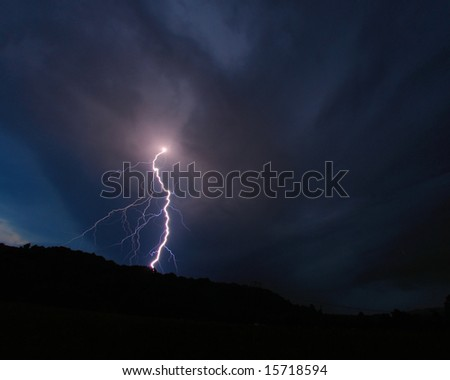 Single, large lightning bolt. - stock photo