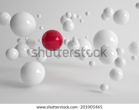 Single large red ball centered amongst numerous floating white balls in different sizes in a concept of uniqueness, quality, individuality and diversity - stock photo