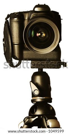 Single Lens Reflex Camera on Tripod - stock photo