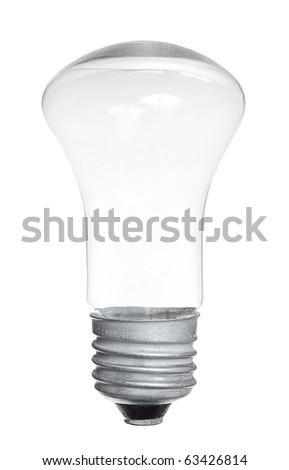 Single light bulb isolated on white background - stock photo