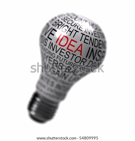 Single light bulb on white background with business expressions on it highlighting the word idea - stock photo