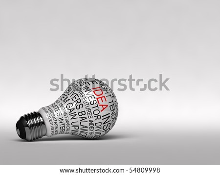 Single light bulb with business expressions on it highlighting the word idea - stock photo