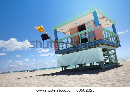 Single live guard booth in Miami beach
