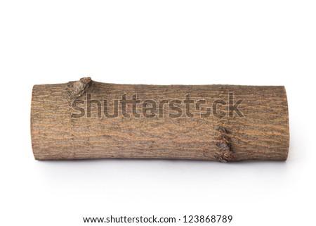Single log. Isolated on a white. - stock photo
