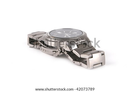 single male silver watches over white background