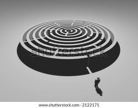 Single man at circular labyrinth entrance - stock photo