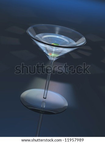 Single martini cocktail in classic glass with olive. Blue surface with lighting effects behind.