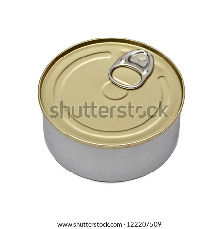 Single metal can isolated on white background - stock photo