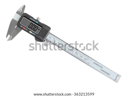 Single metal digital calipers. Isolated on white background. Close-up. Studio photography.