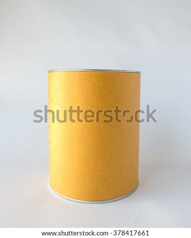Single Metal Tin Can with Blank Abstract Brown Recycle Paper Covered used as Template to input Text for Food Storage Product on White Background - stock photo