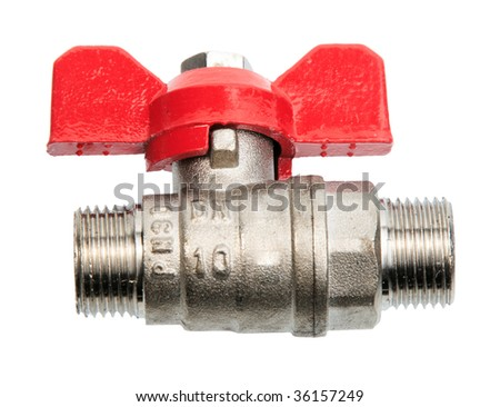 Single metal valve for water. Close-up. Isolated on white background.
