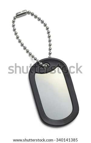 Single Military Dog Tag Isolated on a White Background.