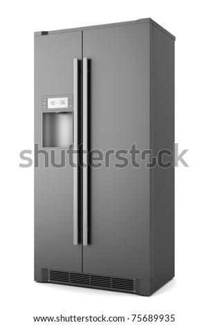 single modern black refrigerator isolated on white background - stock photo