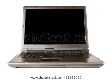 Single modern laptop with black screen isolated on white background. Space for your text.