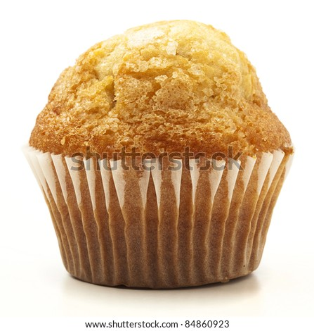 single muffin isolated on a white background - stock photo
