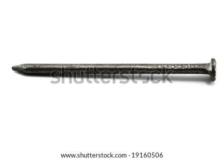 single nail isolated on white - stock photo