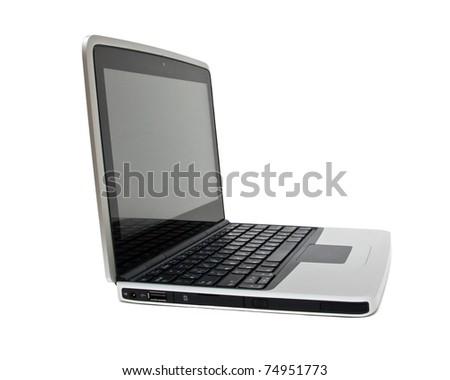 Single netbook (laptop) on a white background