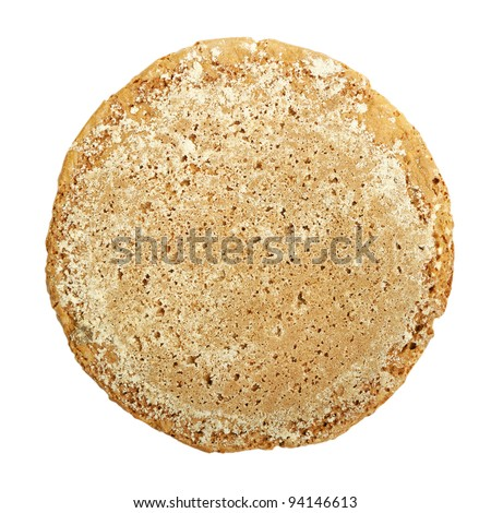 Single oatmeal cookie isolated on white - stock photo
