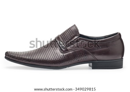 Single of classical brown leather shoes for men, without shoelaces on a white background